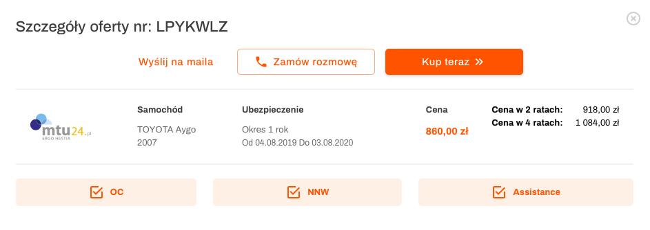 oferta oc nnw assistance mtu24